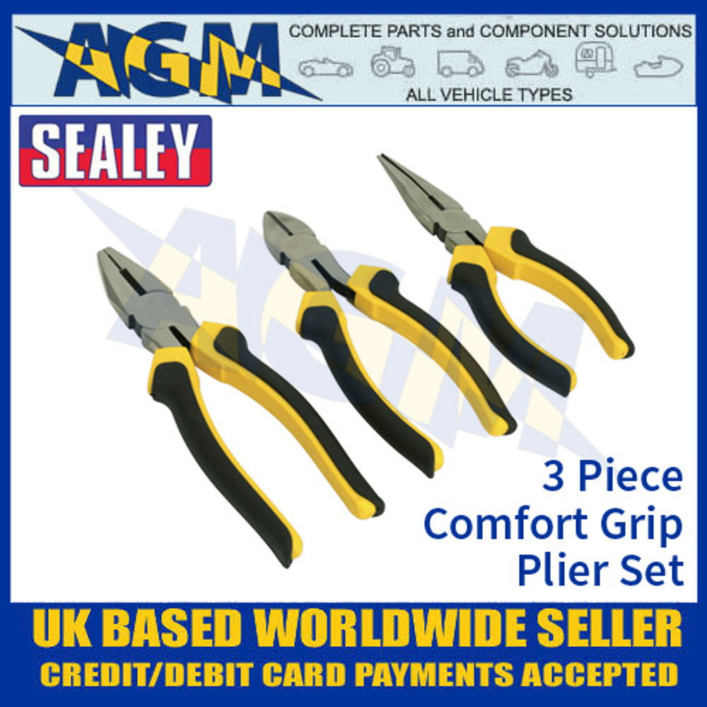 Sealey S0645 3 Piece Comfort Grip Plier Set, Set Of Pliers