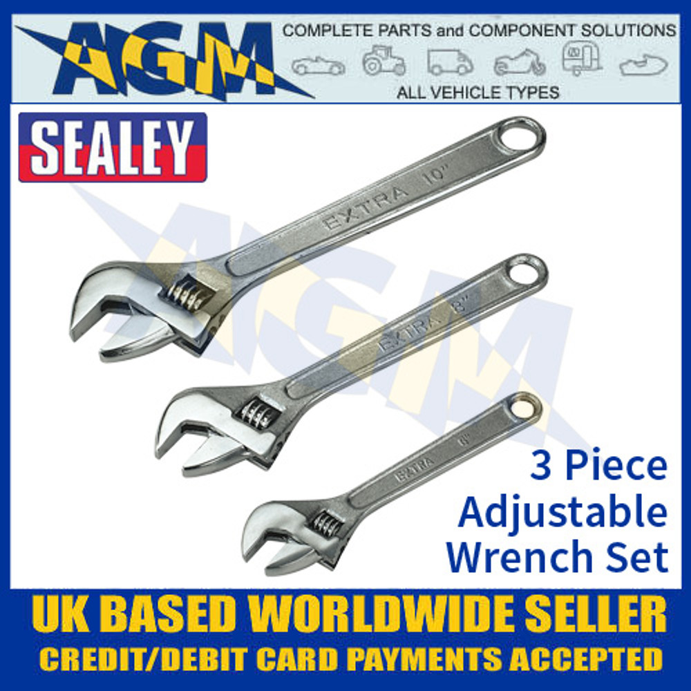 Sealey S0448 3 Piece Adjustable Wrench Set, Set Of Adjustable Wrenches