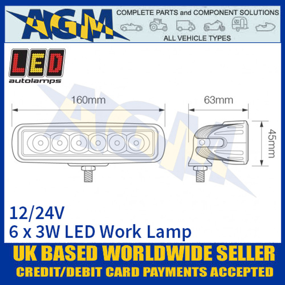 LED Autolamps 16018WM Rectangular 6 x 3W LED Work Lamp, Dimensions