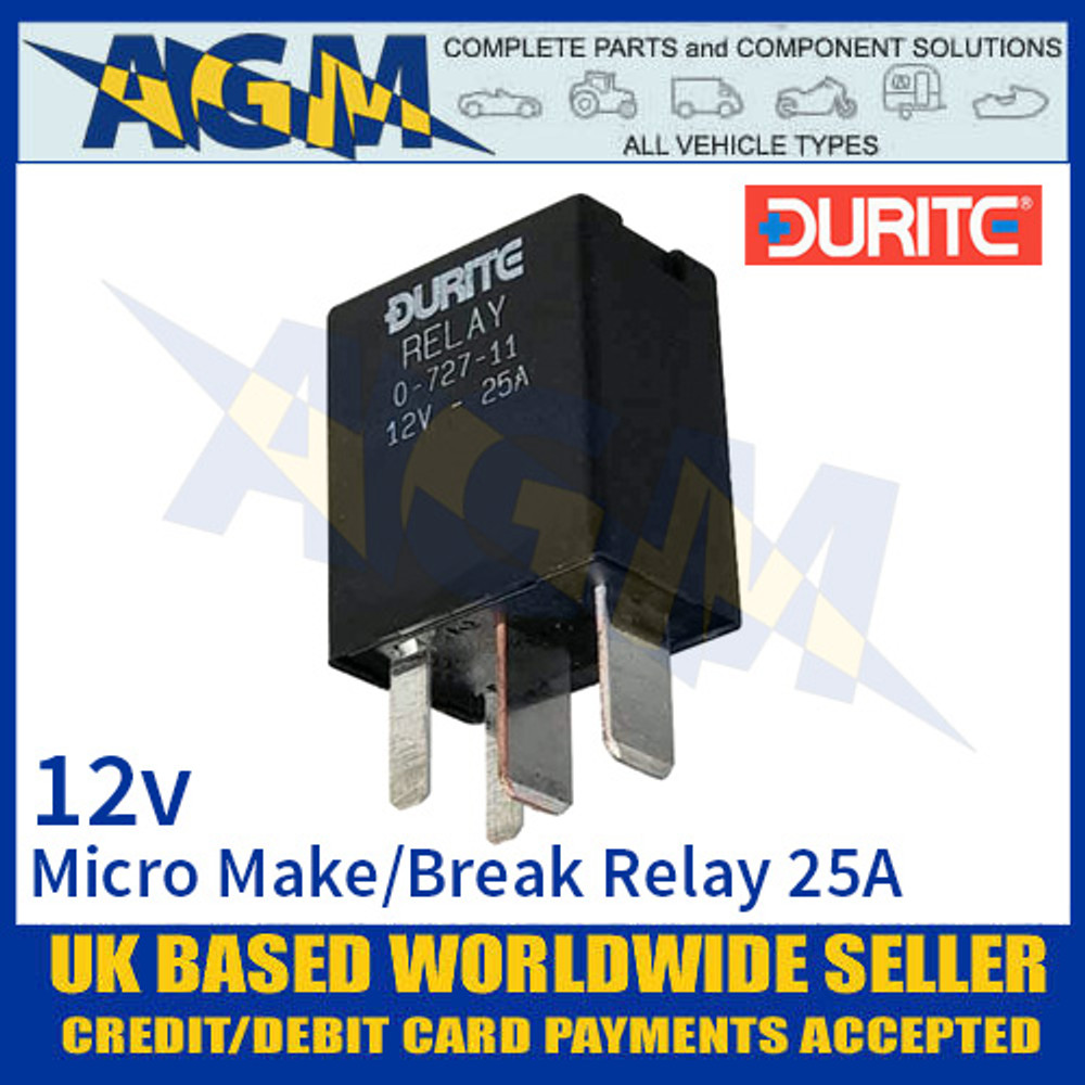 Durite 0-727-11 Relay, 12V. 25A Micro Make/Break Relay + Sealed Resistor
