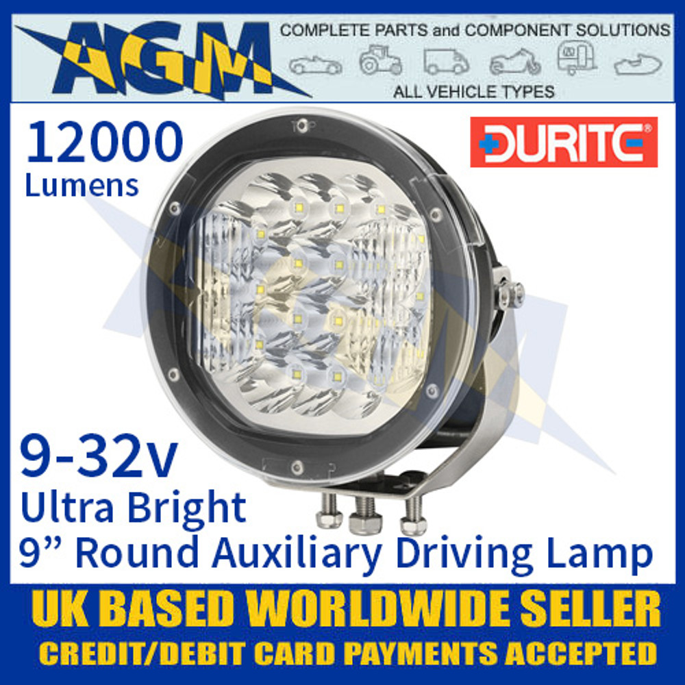 """Durite 0-537-49 Ultra Bright 9"""" Round LED Auxiliary Driving Lamp, 12000 Lumens"""