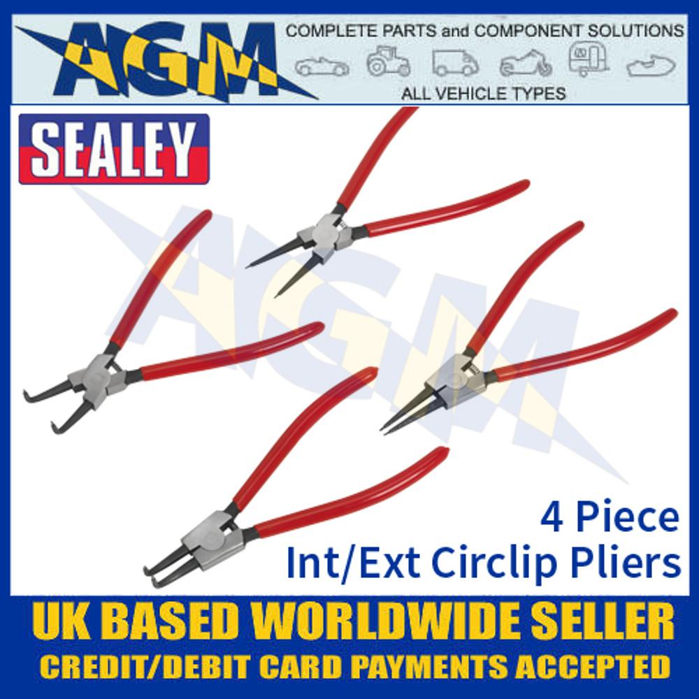 Sealey AK8456 Internal/External Circlip Pliers Set, 4 Piece, 230mm