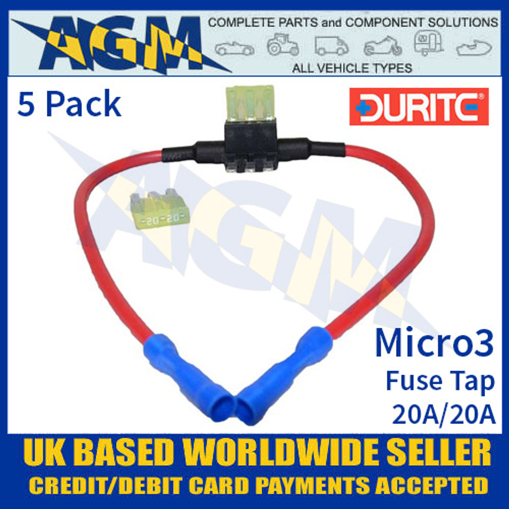 0-371-99 Durite 20A/20A Micro3 Fuse Tap, Fuse Tap Micro3 Holder