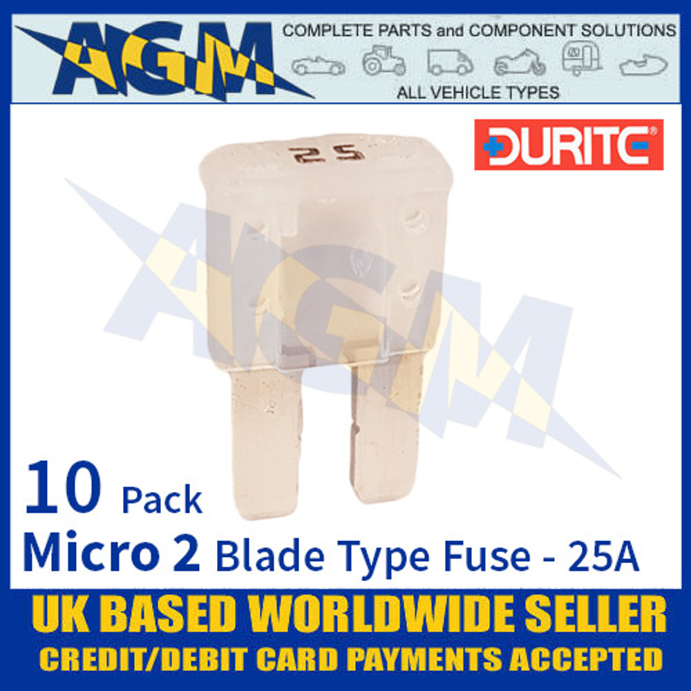 0-376-82 Durite Micro 2 Blade Type Fuse, White, 25 Amp, 10 Pack Micro 2 Fuses