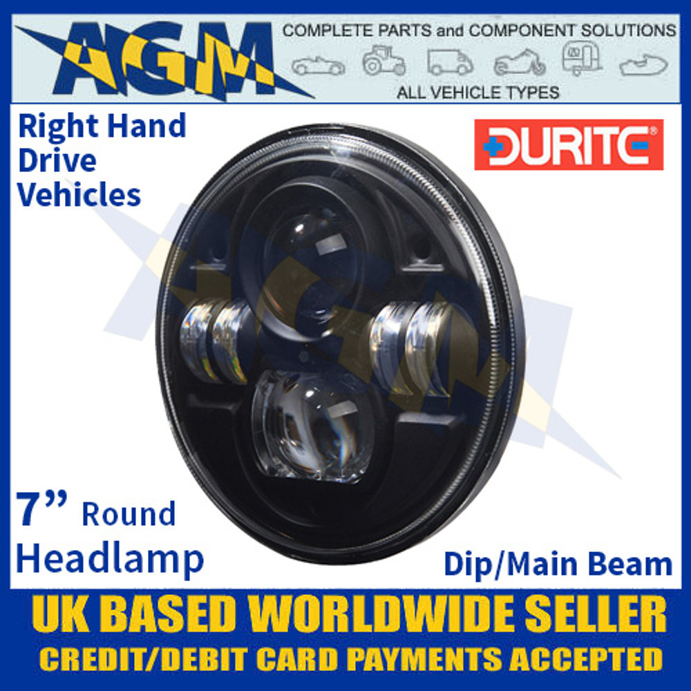 "0-422-55 Durite 7"" Round Headlamp Unit with Dip/Main Beam, 12/24V, Right Hand Drive"
