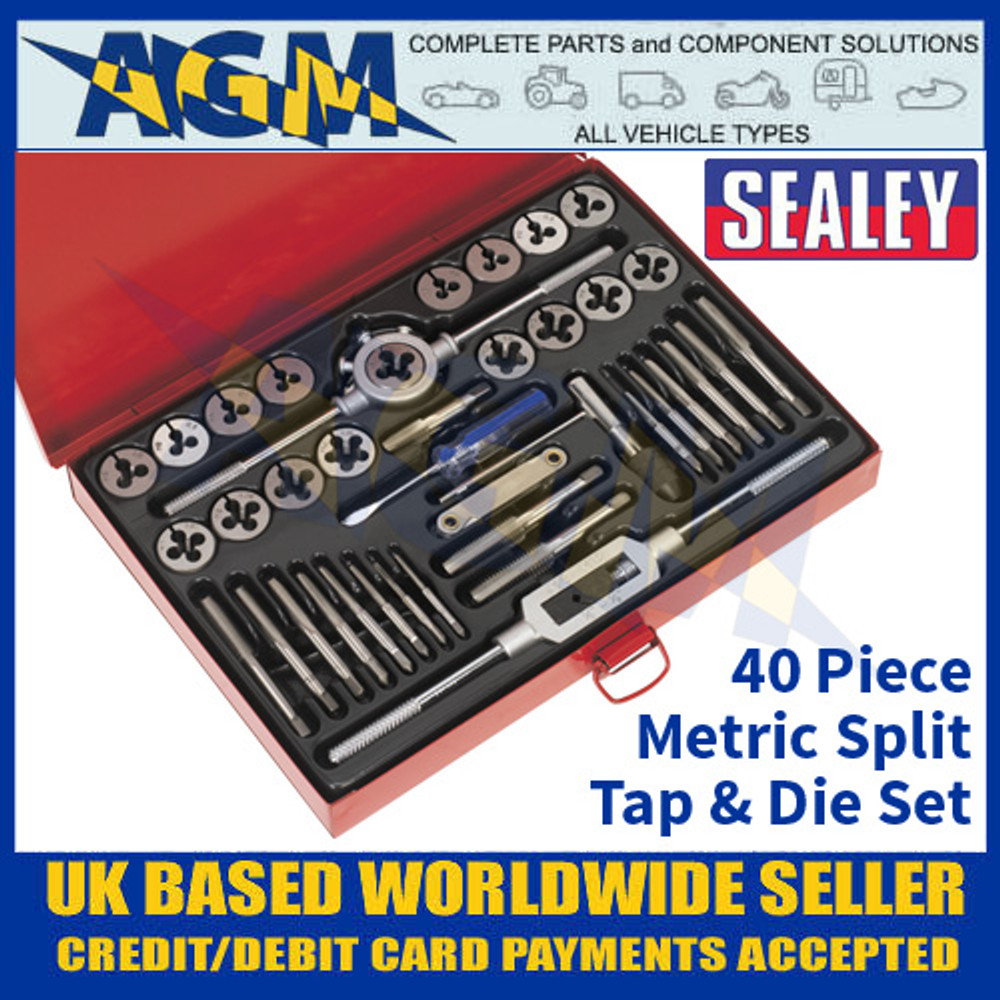 Sealey AK3040 Metric Tap and Die Set, 40 Pieces, Split Dies Metric