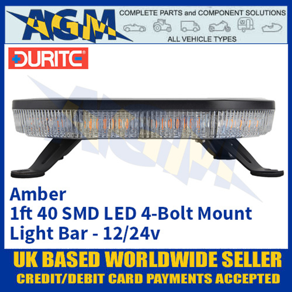 Durite 0-443-44 Amber 1ft 40 SMD LED 4-Bolt Mount Light Bar, 12/24v