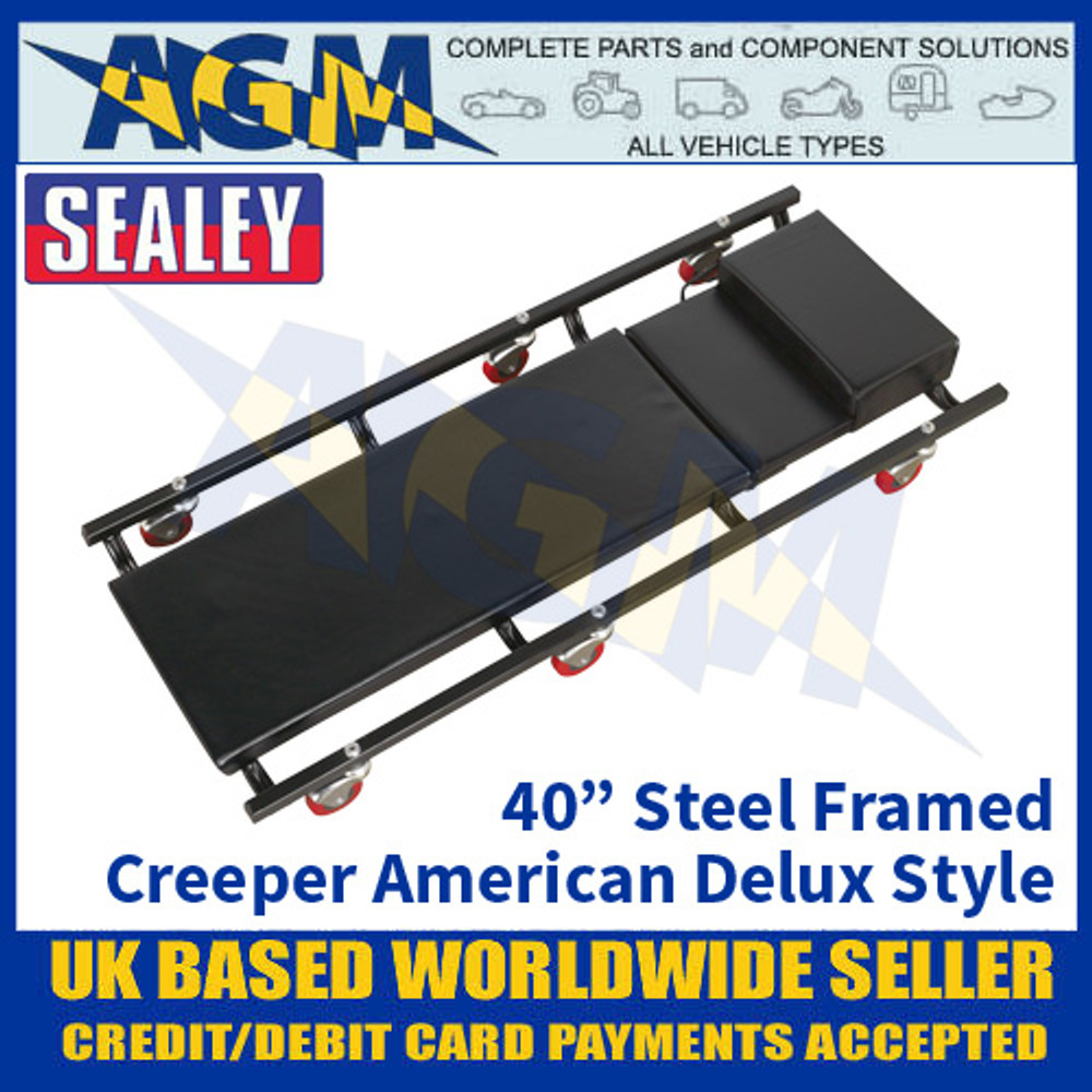 """Sealey SCR74 Creeper 40"""" with Steel Frame, Delux American Style, 6 Wheels + Headrest"""