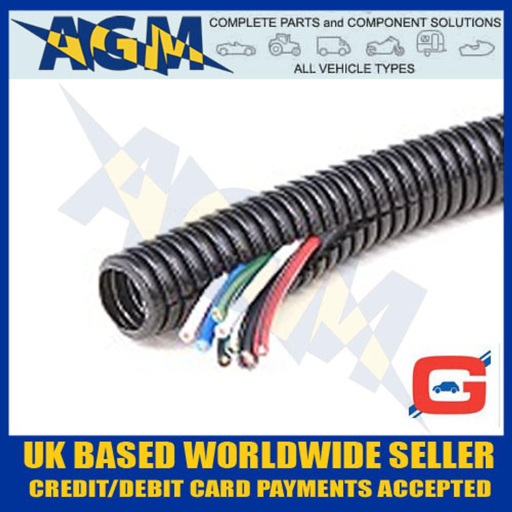 GUARDIAN GCS23 Convoluted Pre-Split Black Nylon Tubing Trunking 28mm OD 10 Metre