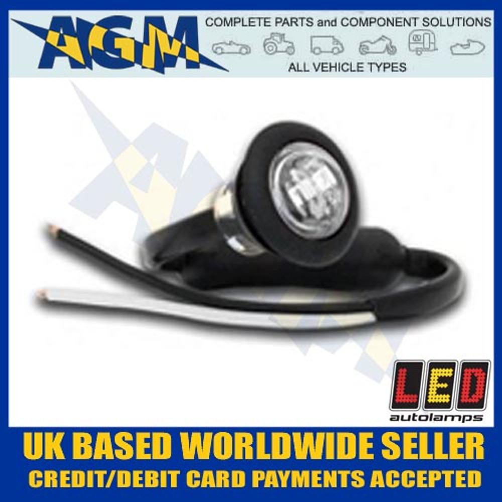 led, 181wme, trailer, round, front, marker, light, lamp, white, 12v, 24v