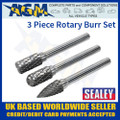 SDBK3 Sealey 3 Piece Rotary Burr Set