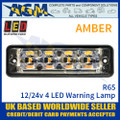 LED Autolamps SSLED4DVAR65 Super-Slim Amber 4 Block LED Warning Lamp