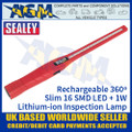 Sealey Rechargeable 360º Slim Inspection Lamp 16 SMD LED + 1W LED - Red
