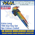Sealey AK7194 TRX-Star Key Set 9pc Colour-Coded, Extra Long, Metric