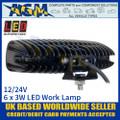 LED Autolamps 16018BW Rectangular 6 x 3W LED Work Lamp, Back