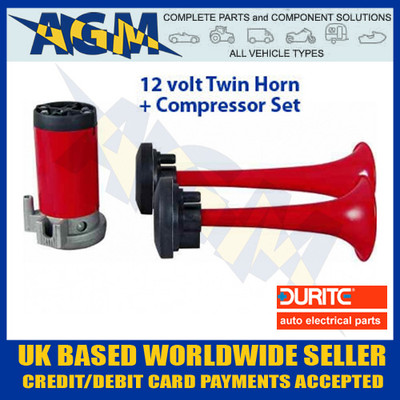 durite, 0-642-00, 064200, 12v, twin, air, horn, compressor