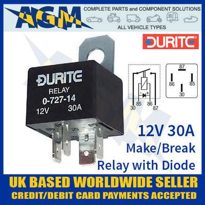 durite, 0-727-14, 12v, mini, make, break, relay, diode