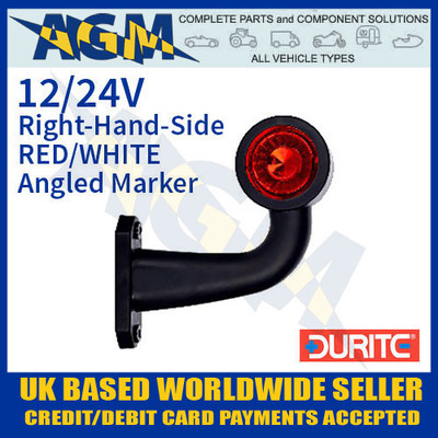 durite, 0-172-40, 017240, rh, red, white, angled, led, outline, marker, lamp, 12v, 24v