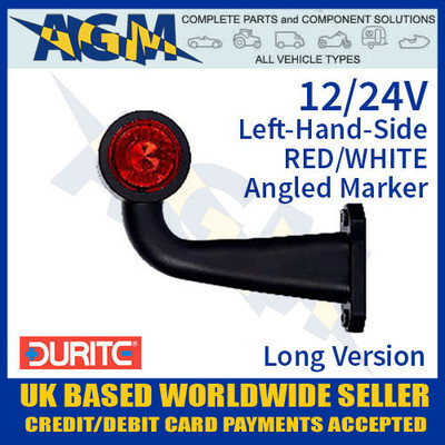 durite, 0-172-46, 017246, lh, red, white, angled, led, outline, marker, lamp, 12v, 24v