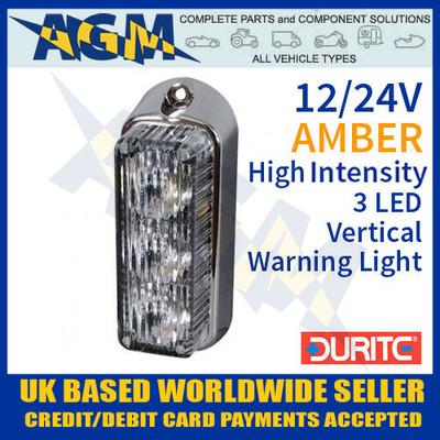 durite, 0-442-30, 044230, amber, high, intensity, led, vertical, warning, light, 12v, 24v
