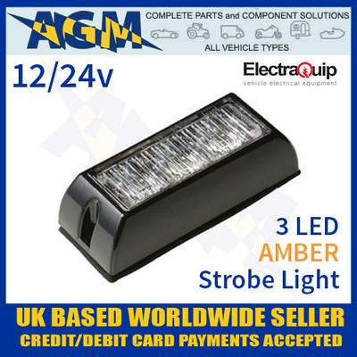 ElectraQuip LED3DVA Amber 3 LED Strobe Light Multivolt 12/24v