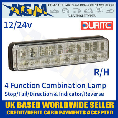 durite, 0-300-14, 030014, function, 12v, 24v, r/h, led, slimline, rear, combination, lamp