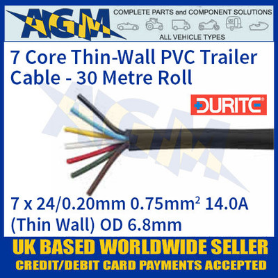 Durite 0-997-60 7 Core Thin-Wall PVC Trailer Cable