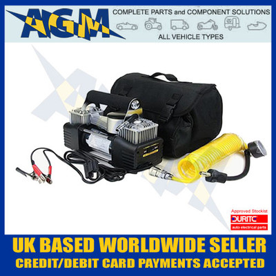 Durite 0-674-00, 12V Portable Twin Piston Air Compressor, 5M Coily Air Hose, Pressure Guage, Crocodile clips, Robust, Carry Case