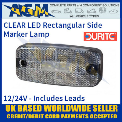 Durite 0-170-60 CLEAR WHITE LED Side Marker Lamp with Leads, 12/24V