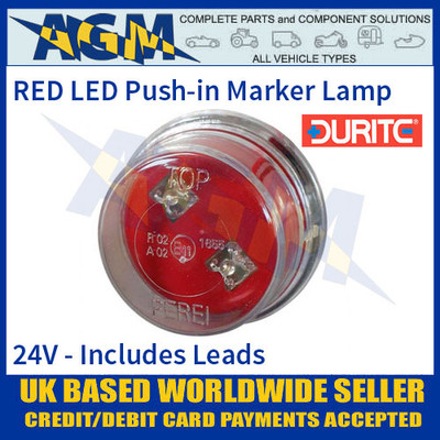 Durite 0-170-55 RED LED Push-in Rear Marker Lamp with Leads, 24V
