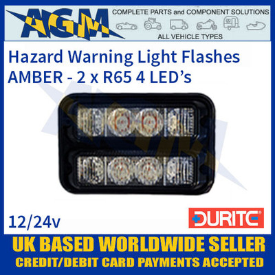 Durite 0-442-19 Amber 2 x R65 Amber 4 LED Horizontal Warning Light, 12-24V