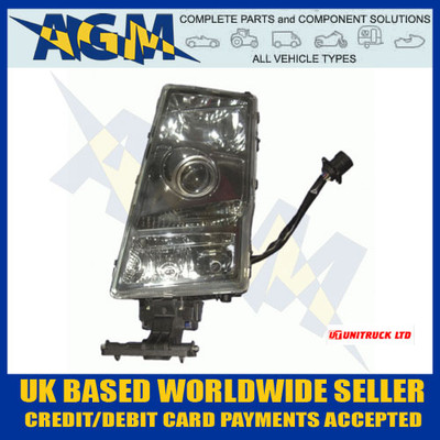 unitruck, u5300, 5300, volvo, fh, fm, o/s, headlight, glass