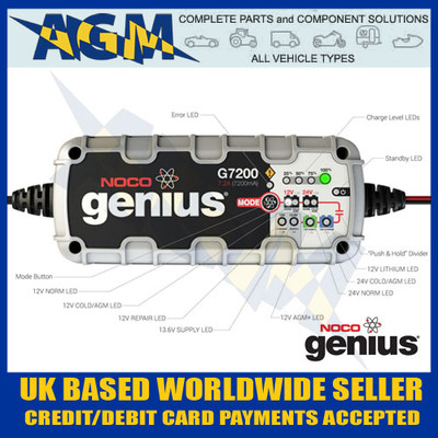 noco, genius, g7200uk, 7.2, amp, smart, battery, charger