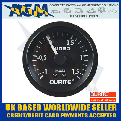Durite 0-533-02 Mechanical Vacuum/Boost Gauge with 5' Capillary - 52mm
