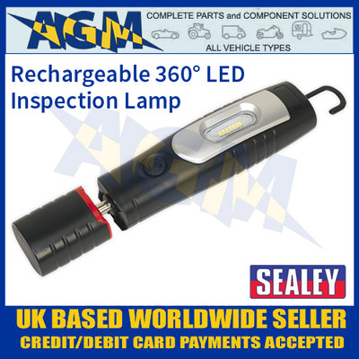 Rechargeable 360° Inspection Lamp 7 SMD + 3W LED Black Lithium-ion