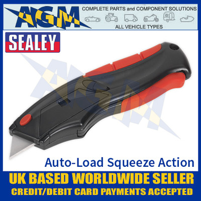Sealey AK8607 Utility Knife Auto-Loading Squeeze Action Supplied with 6 Blades - Blade Out