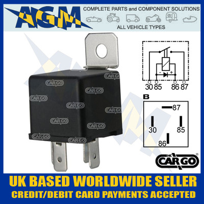 Cargo 160982, 12v, 4 Terminal Mini Relay with Bracket 40 Amps