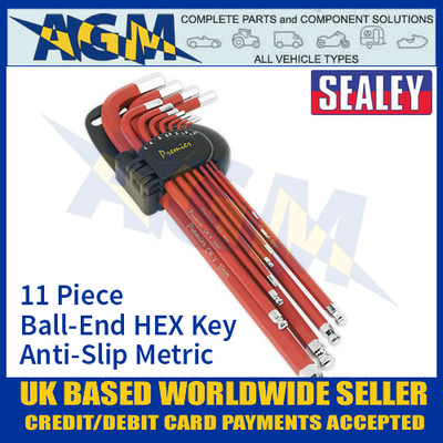 Sealey AK7164 Ball-End Hex Key Set 11pc Anti-Slip Extra-Long Metric