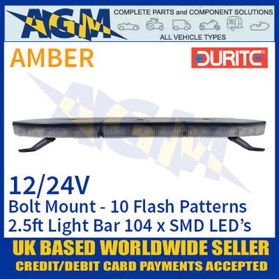 Durite 0-443-40 Light Bar, Amber 2.5ft (760mm) 104 LED Light Bar - 12/24V