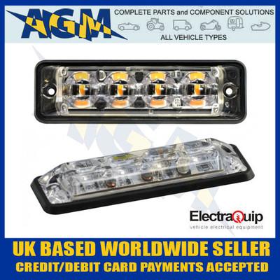 Electraquip SSLED4DVA, R10 Slim Amber 4 LED Strobe Hazard Warning Lamp/Light