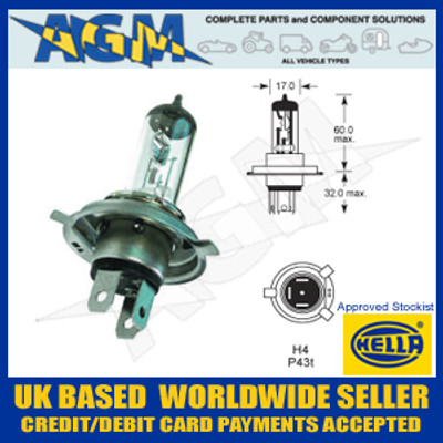 HELLA HB472 12v H4 Halogen Headlamp Bulb (Pack of 10)