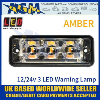 LED Autolamps SSLED3DVA Super-Slim Amber 3 Block LED Warning Lamp