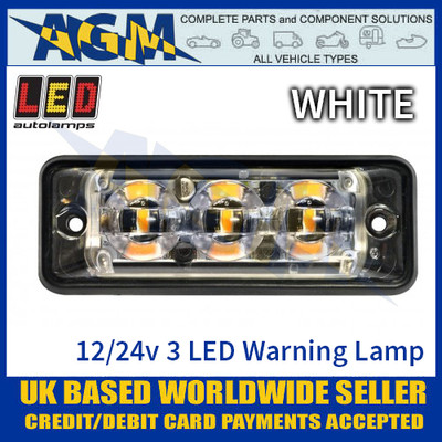 LED Autolamps SSLED3DVW Super-Slim White 3 Block LED Warning Lamp