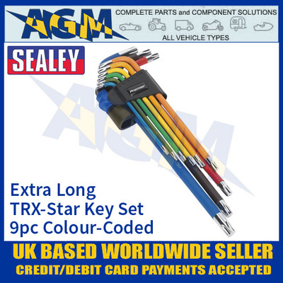 Sealey AK7194 TRX-Star Key Set 9pc Colour-Coded, Extra Long, Metric
