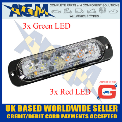 Guardian LED13GA Green/Amber 6 Led Warning Light 10-30 Volt