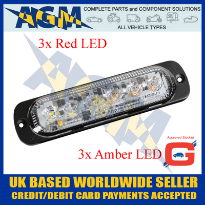 Guardian LED13RA Red/Amber 6 Led Warning Light 10-30 Volt