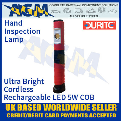 Durite 0-699-88 Ultra Bright Cordless Rechargeable LED 5W COB Hand Inspection Lamp