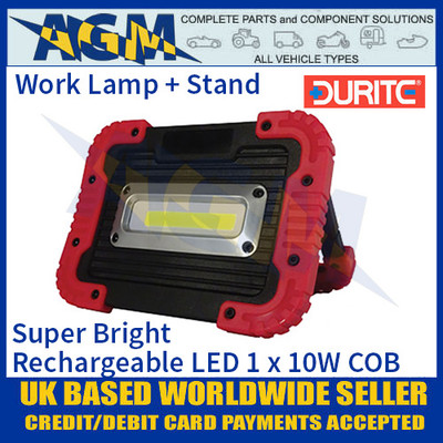 Durite 0-541-35 Super Bright Rechargeable LED 1 x 10W COB Work Lamp, IP55