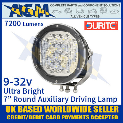 """Durite 0-537-47 Ultra Bright 7"""" Round LED Auxiliary Driving Lamp, 7200 Lumens"""