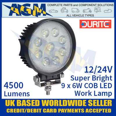 Durite 0-420-87 Super Bright Round 9 x 6w COB LED Work Lamp, 12/24V